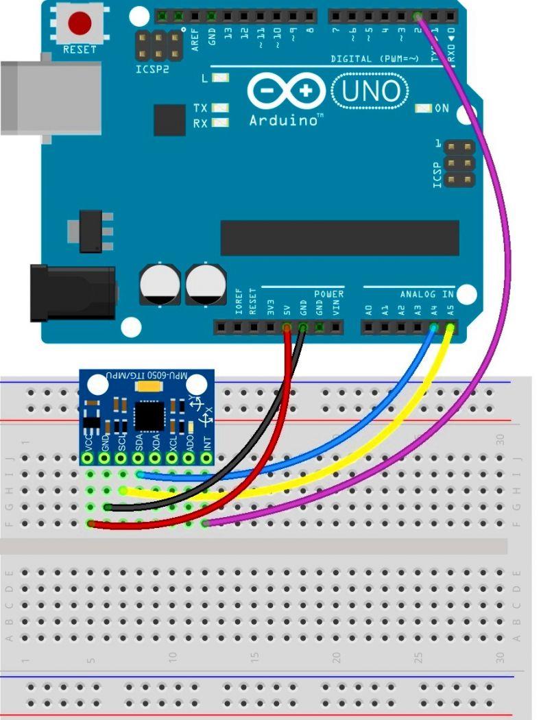 Схема подключения MPU-6050 к Arduino
